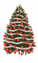Christmas Tree with Red and Silver Ornaments Transparent Background