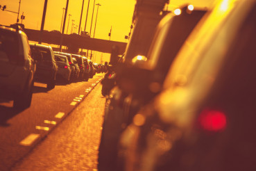 City Highway Traffic at Sunset