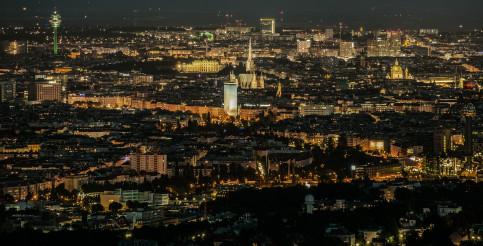 City of Vienna During Night Hours Panorama