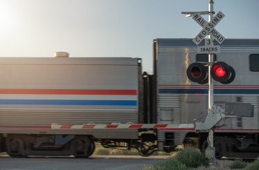 Closed Utah Railroad Crossing and Passing Train