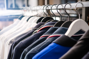 Clothing Garment Rack with Hanging Polos