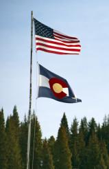 Colorado and USA Flags