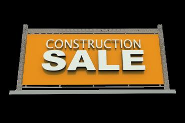 Construction Sale 3D Banner PNG