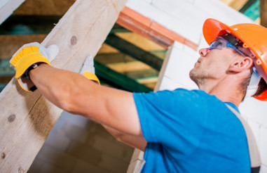 Construction Worker with Plank
