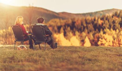 Couple Enjoying Outdoor Autumn Scenery