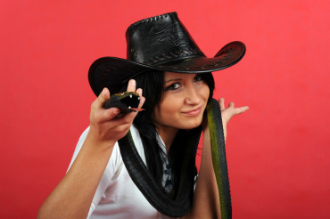 Cowgirl with Snake