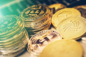 Crypto Coins Closeup