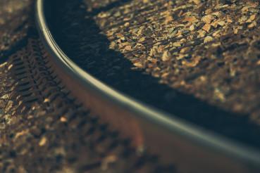 Curved Railroad Track Close Up