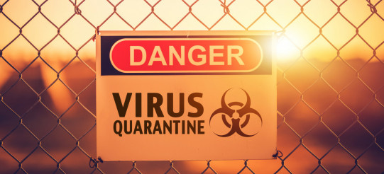 Danger Zone. Virus Quarantine Area Warning Sign on a Fance.