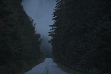 Dark Foggy and Rainy Road