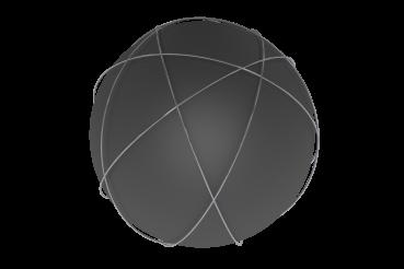 Dark Matt Ball with Rings PNG 3D Illustration