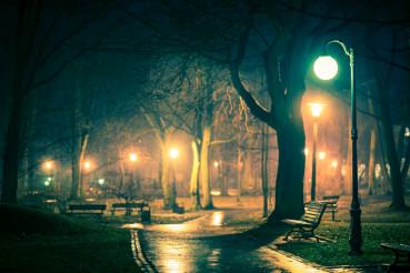 Dark Rainy City Park