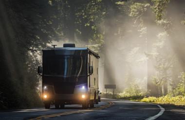 Diesel Pusher Motorhome RV on a Scenic California Highway