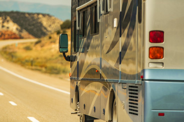Diesel Pusher RV Motor Coach on a Highway