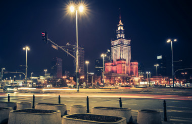 Downtown Warsaw at Night