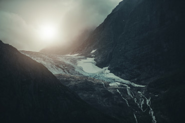 Dramatic Landscape of Alpine Glacier