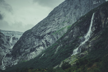 Dramatic Norwegian Landscape with Waterfall