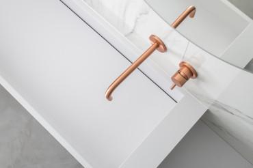 Elegant White Bathroom Vessel Sink with Copper Color Faucet