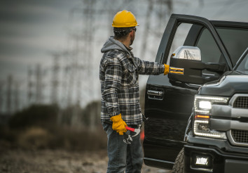 Energy Industry Worker Next to His Pickup Truck