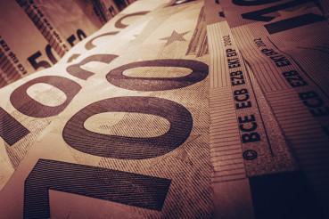 Euro Cash Banknotes Close Up