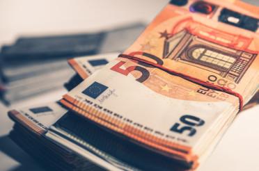 Close Up Of Bundles Of Euro Bills.