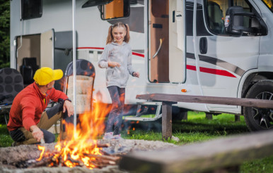 Family RV Road Trip Campsite