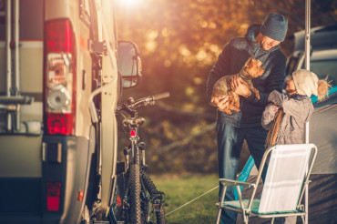 Family with Dog on Camping
