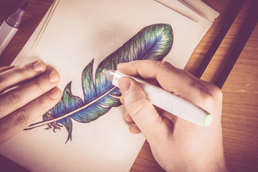 Feather Picture Drawing