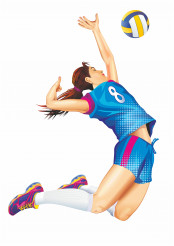 Female Professional Volleyball Player Jump