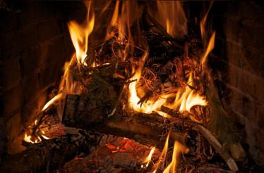 Fire in Fireplace Closeup