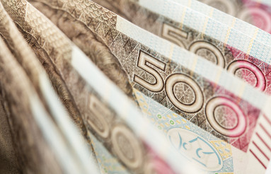 Five Hundred Polish Zlotych Bills Close Up