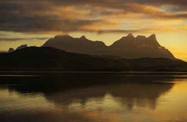 Fjord and Mountains Sunset in Northern Norway
