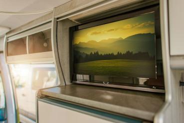 Flat RV TV Inside Modern Camper Van Motorhome