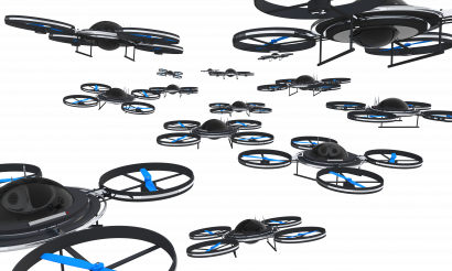 Fleet of Drones on the Sky Isolated Illustration
