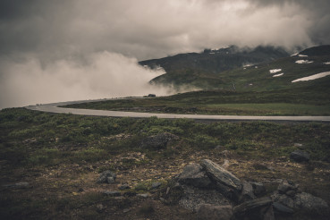 Foggy and Cloudy Norwegian Raw Landscape