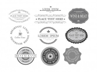 Food and Wine Labels Set
