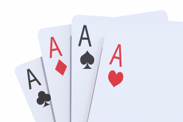 Four Poker Cards Closeup 3D Render PNG