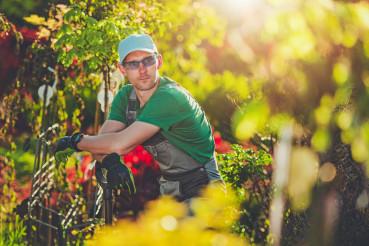 Gardener Enjoying His Garden