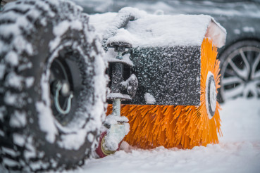 Gasoline Brush Broom Snow Removal Machine in Action