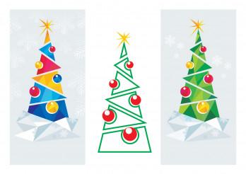 Modern Geometric Christmas Trees Illustration