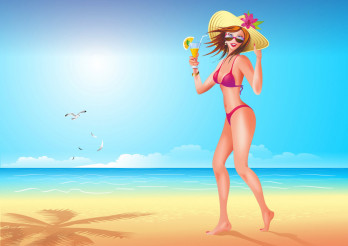 Girl on the Beach Illustration