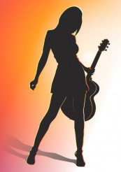 Girl with Guitar Vector Art