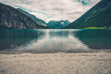 Glacial Lake Beach in Norway