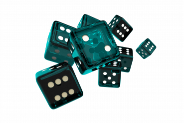 Glassy Turquoise Casino Dices PNG Isolated