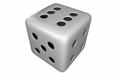 Glossy White Casino Games Dice PNG Graphic