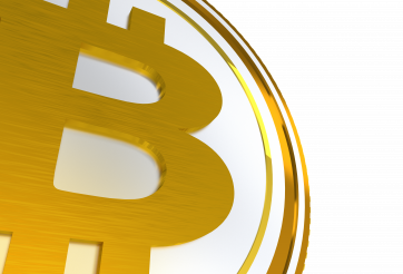 Golden Bitcoin Sign 3D PNG Graphic