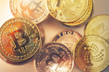 Golden Cryptocurrency Coins Close Up