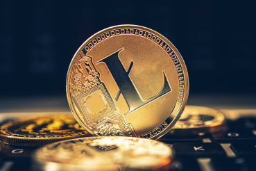 Golden Litecoin Coin Close Up