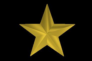 Golden Matt Star Isolated 3D Graphic