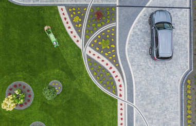 Grass Mowing and Taking Care of Front Yard Garden Aerial View